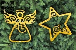 Christmas Angel and Star E0012354 file cdr and dxf free vector download for laser cut