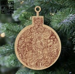 Christmas ball E0012485 file cdr and dxf free vector download for laser engraving machines