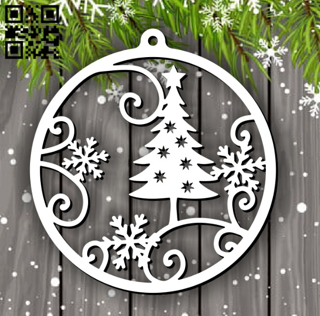 Christmas ball E0012490 file cdr and dxf free vector download for laser cut