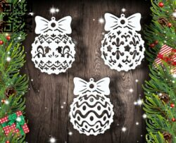 Christmas balls E0012409 file cdr and dxf free vector download for laser cut
