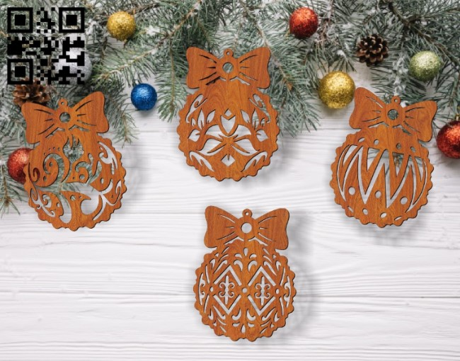 Christmas balls E0012410 file cdr and dxf free vector download for laser cut