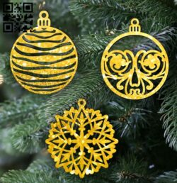 Christmas balls E0012522 file cdr and dxf free vector download for laser cut