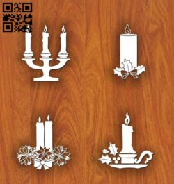 Christmas candles E0012429 file cdr and dxf free vector download for laser cut