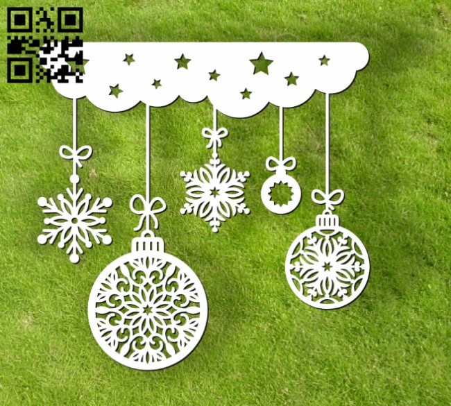 Christmas decorations E0012301 file cdr and dxf free vector download for laser cut
