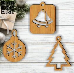 Christmas decorations E0012555 file cdr and dxf free vector download for laser cut