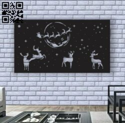 Christmas deer panel E0012320 file cdr and dxf free vector download for laser cut