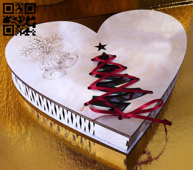 Christmas heart box E0012482 file cdr and dxf free vector download for laser cut