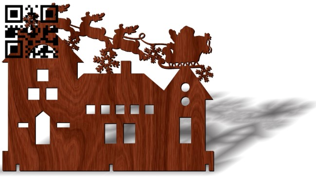 Christmas house E0012281 file cdr and dxf free vector download for laser cut