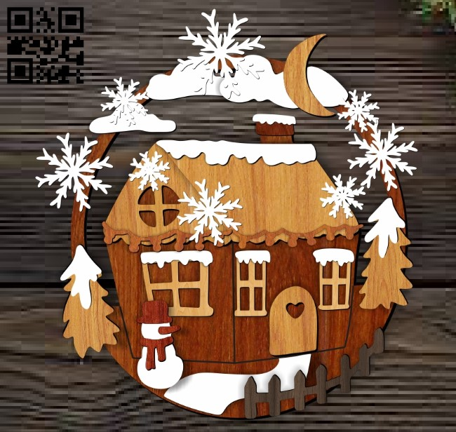 Christmas house E0012494 file cdr and dxf free vector download for laser cut