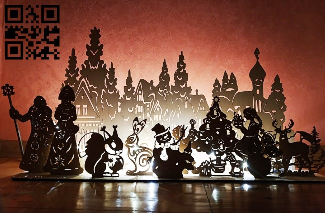 Christmas pano E0012303 file cdr and dxf free vector download for laser cut