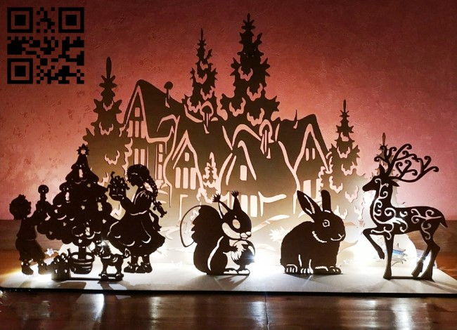Christmas pano E0012305 file cdr and dxf free vector download for laser cut