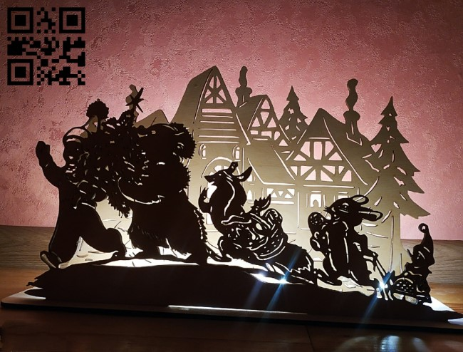 Christmas pano E0012306 file cdr and dxf free vector download for laser cut