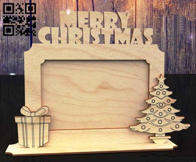Christmas photo frame E0012515 file cdr and dxf free vector download for laser cut