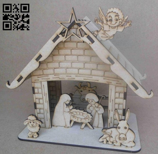 Christmas scene E0012260 file cdr and dxf free vector download for laser cut