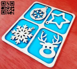 Christmas toys set E0012423 file cdr and dxf free vector download for laser cut