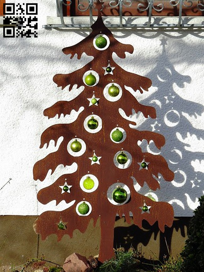 Christmas tree E0012344 file cdr and dxf free vector download for laser cut