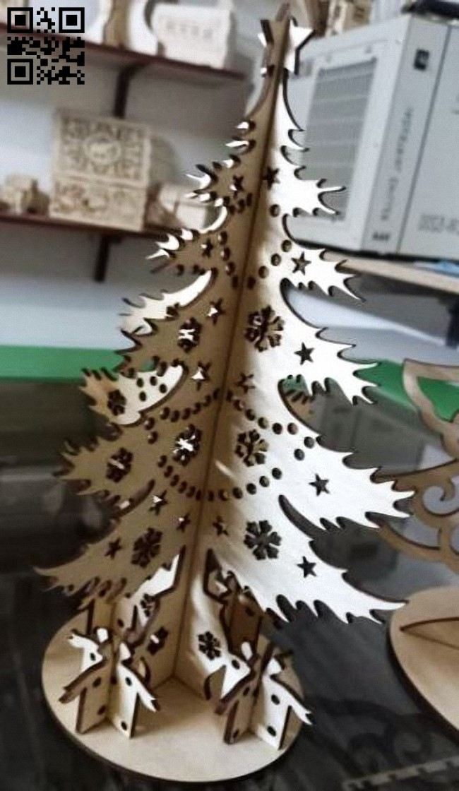 Christmas tree E0012514 file cdr and dxf free vector download for laser cut