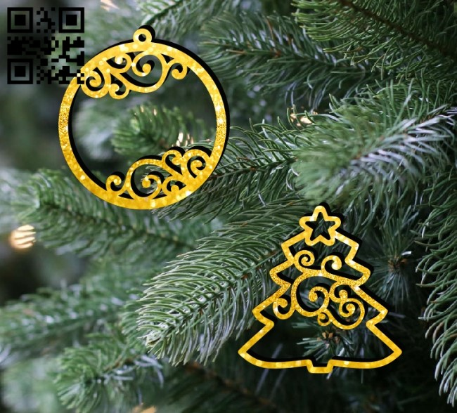 Christmas tree and Christmas ball E0012355 file cdr and dxf free vector download for laser cut