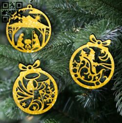 Christmas tree decoration balls E0012326 file cdr and dxf free vector download for Laser cut