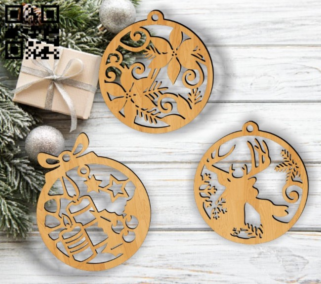 Christmas tree decoration balls E0012328 file cdr and dxf free vector download for Laser cut