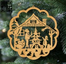 Christmas tree decoration toy E0012439 file cdr and dxf free vector download for laser cut