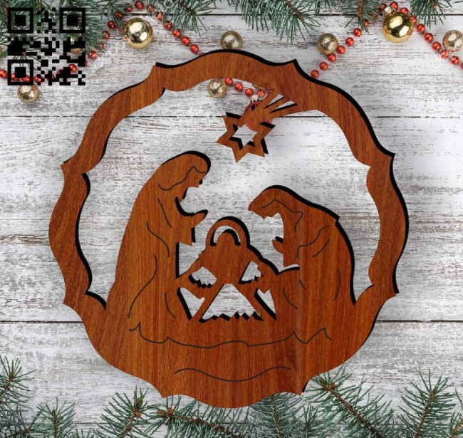 Christmas tree decoration toy E0012442 file cdr and dxf free vector download for laser cut