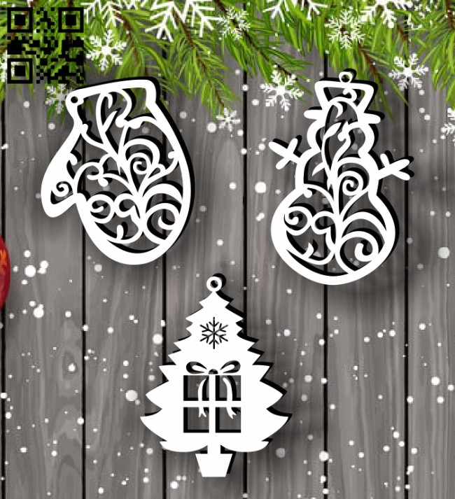 Christmas tree decoration toys E0012327 file cdr and dxf free vector download for Laser cut