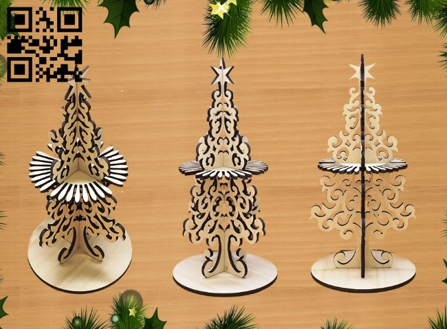 Christmas tree napkin holder E0012435 file cdr and dxf free vector download for laser cut