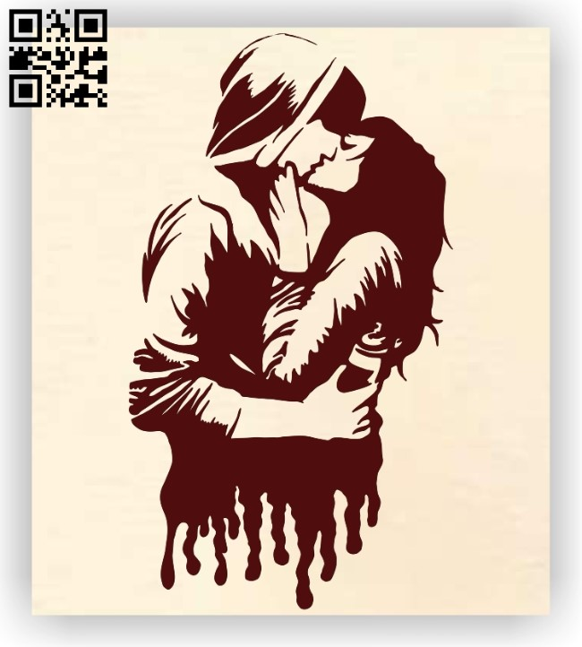 Couple kissing E0012411 file cdr and dxf free vector download for laser engraving machines