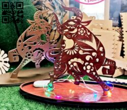 Decoration New Year Symbol Bull E0012352 file cdr and dxf free vector download for laser cut