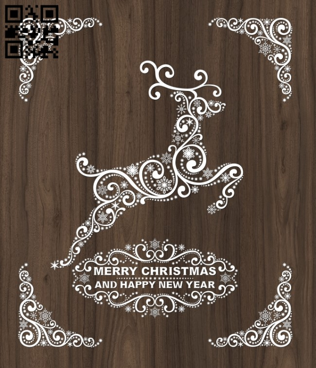 Deer Merry Christmas E0012404 file cdr and dxf free vector download for laser cut