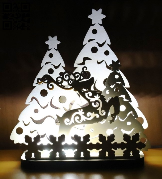 Deer and Christmas tree light E0012481 file cdr and dxf free vector download for laser cut