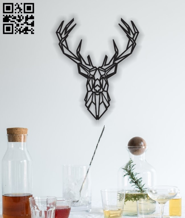 Deer head Mural E0012457 file cdr and dxf free vector download for laser cut plasma
