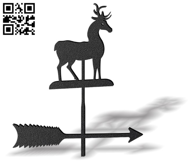 Deer weather wind vane E0012446 file cdr and dxf free vector download for laser cut plasma