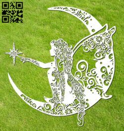 Fairies with the moon E0012276 file cdr and dxf free vector download for laser cut