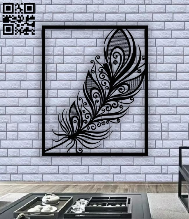 Feather panel E0012571 file cdr and dxf free vector download for laser cut plasma