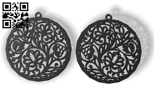 Flower earrings E0012293 file cdr and dxf free vector download for laser cut