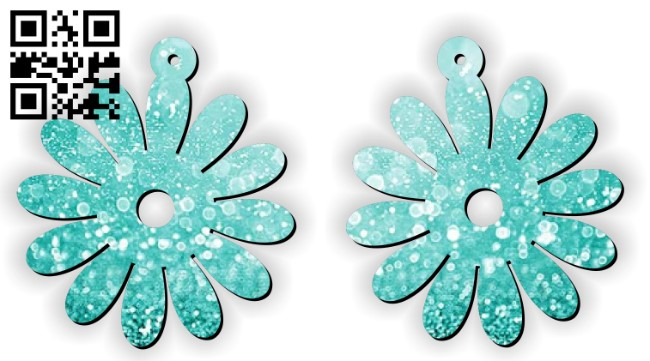 Flower earrings E0012363 file cdr and dxf free vector download for laser cut