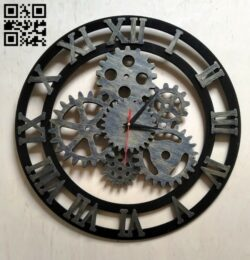 Gear clock E0012316 file cdr and dxf free vector download for laser cut