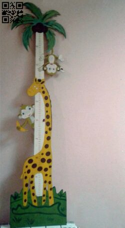 Giraffe and monkey height ruler E0012483 file cdr and dxf free vector download for laser cut