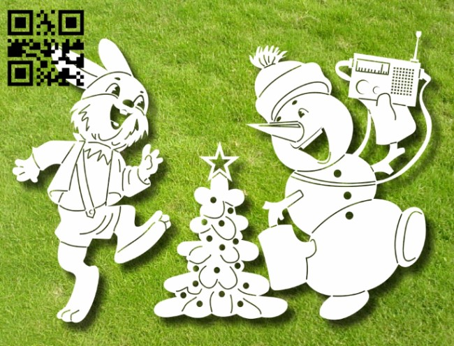 Hare and snowman E0012259 file cdr and dxf free vector download for laser engraving machines