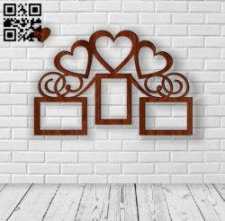Heart photo frames E0012313 file cdr and dxf free vector download for laser cut
