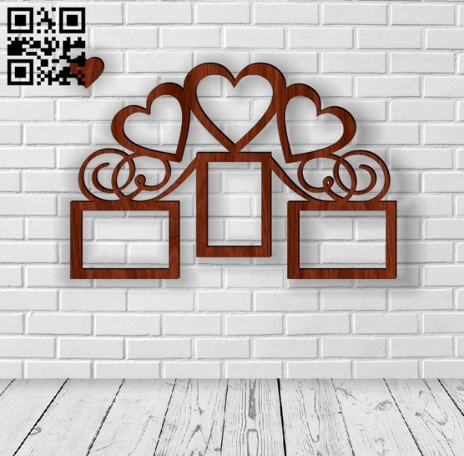 Heart photo frames E0012312 file cdr and dxf free vector download for laser cut
