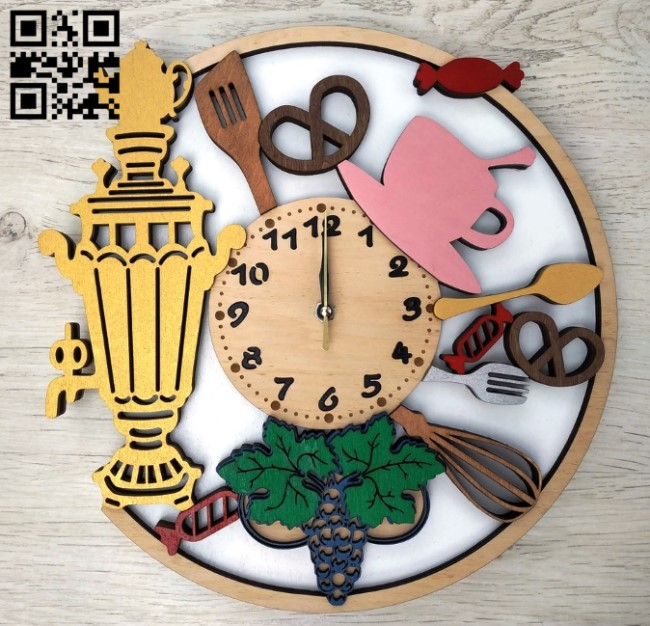 Kitchen clock E0012499 file cdr and dxf free vector download for laser cut