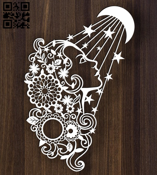 Lady with Moon E0012463 file cdr and dxf free vector download for laser cut