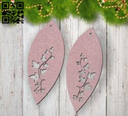 Leaf earrings E0012295 file cdr and dxf free vector download for laser cut