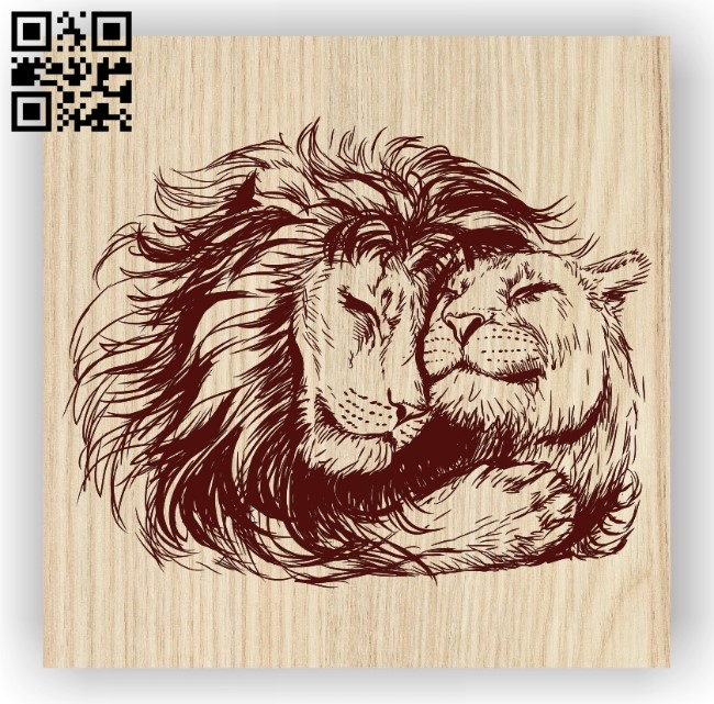Lion couple E0012413 file cdr and dxf free vector download for laser engraving machines