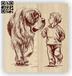 Little boy and dog E0012422 file cdr and dxf free vector download for laser engraving machines