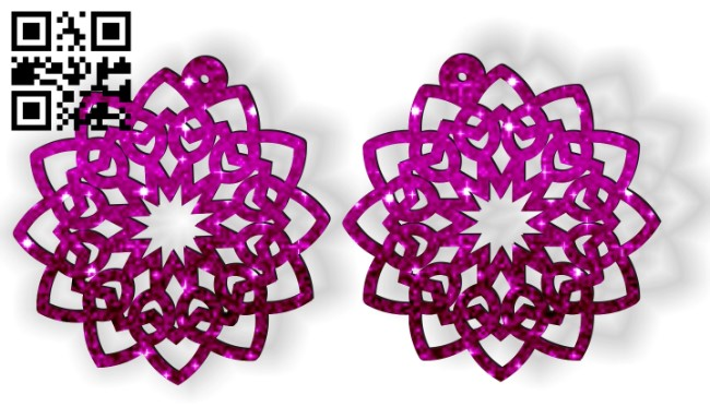 Mandala earrings E0012364 file cdr and dxf free vector download for laser cut