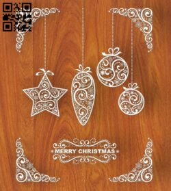 Merry Christmas E0012402 file cdr and dxf free vector download for laser cut
